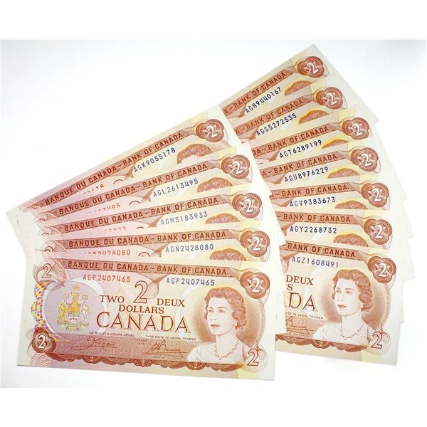 Interesting set of 1974 $2 BC-47b Canada Notes, all different prefix letters. Uncirculated. 13pcs