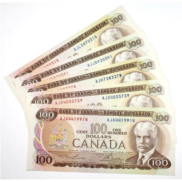 Interesting set of 1975 $100 BC-52a-i AJA to AJL prefix Canada Notes, all different prefix letters.