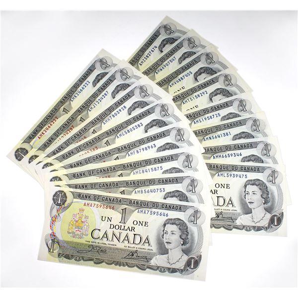 Interesting set of 1973 $1 BC-46b AMA to AMZ prefix Canada Notes, all different prefix letters. Unci