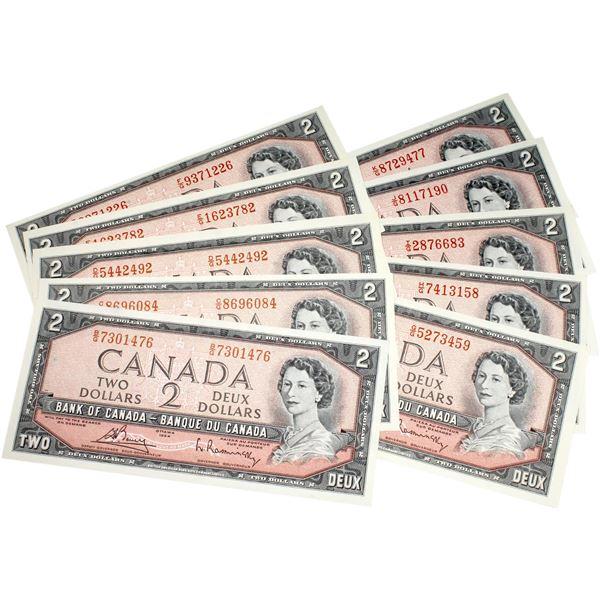 Interesting set of 1954 $2 BC-38c Canada Notes, all different prefix letters. Uncirculated. 10pcs