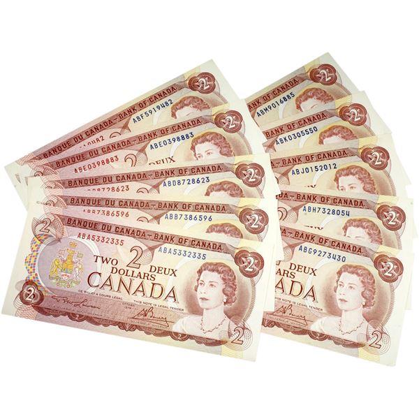 Interesting set of 1974 $2 BC-47a-i Canada Notes, all different prefix letters. Uncirculated. 10pcs