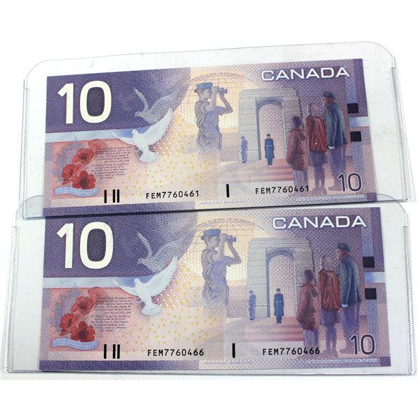 Pair of 2001 Canada $10 BC-63b FEM Knight-Dodge notes in UNC condition. 2pcs