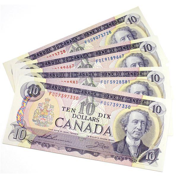 4 x 1971 $10 Thiessen-Crow 3-letter prefix Notes UNC or +