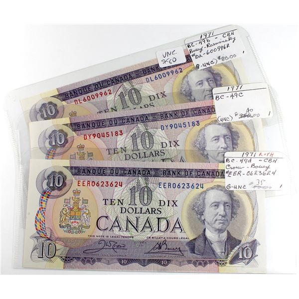 3 x 1971 $10 notes. 3 different signature combinations. UNC or +
