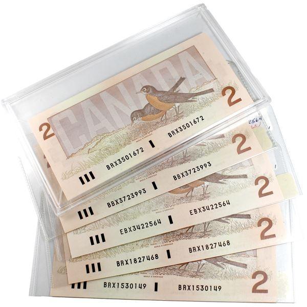 Set of 1986 $2 Replacement notes.- 3x BRX, EBX & BBX. 5pcs