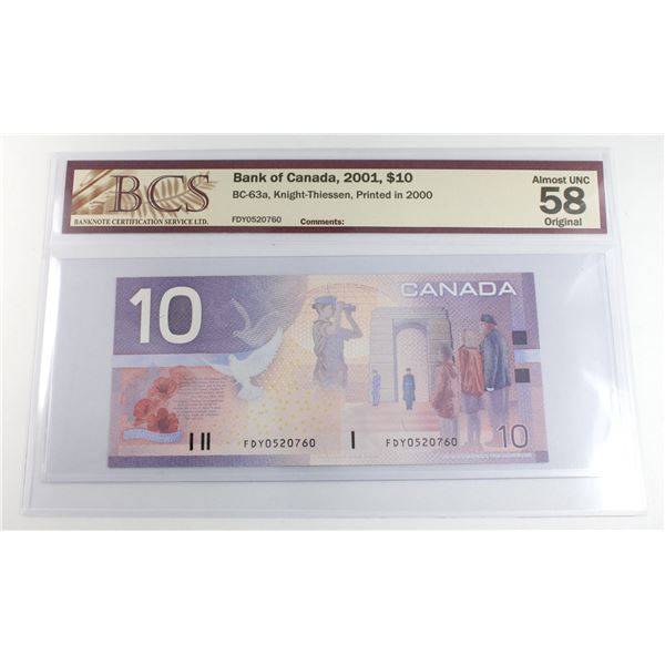 BC-63a 2001 Bank of Canada $10, Knight-Thiessen, Printed in 2000, S/N: FDY0520760, BCS Certified AU-