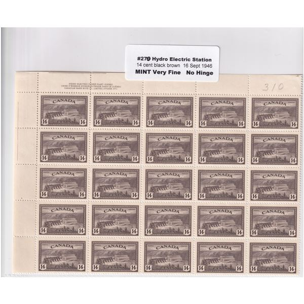 #270 1946 14-cent Hydro Electric Station black brown, Mint No Hinge VF . please view image for detai