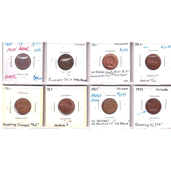 Estate lot of 8x Canada 1-cent Errors and Varieties . Lot includes a 1-cent blank Planchet, hanging
