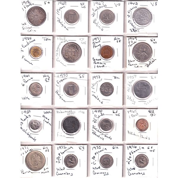 Mixed Page of 20x Miscellaneous World Coinage Dated between 1918-1984. 20pcs