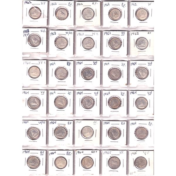 Mixed Page of 30x Canada Silver 10-cent dated 1962-1965. 30pcs