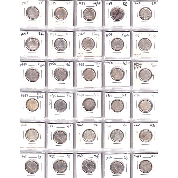 Mixed Page of 30x Canada Silver 10-cent dated between 1937-1962. 30pcs