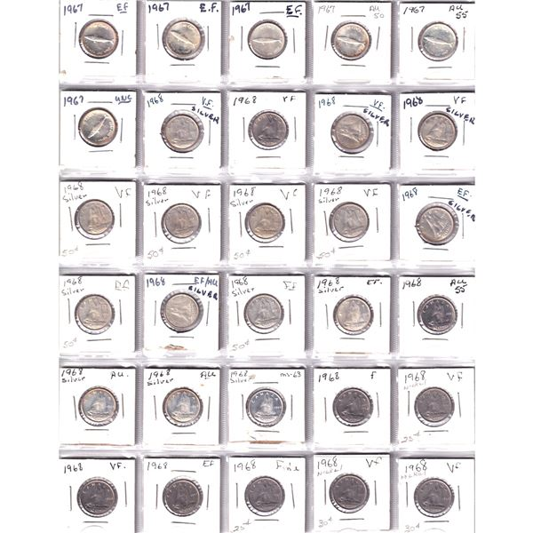 Mixed Page of 30x Canada 10-cent dated between 1967-1968. 21 of 30 pieces are silver. 30pcs