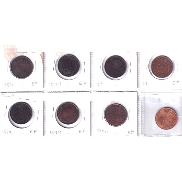 Lot of 8x 1859-1908 Canada large cents. 8pcs