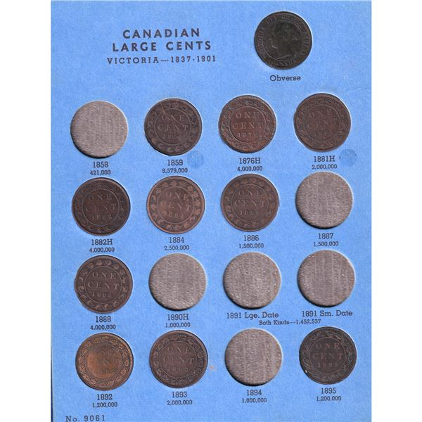 1859-1919 Canada Large Cents in vintage Whitman album. You will receive 32 coins dated between 1859-