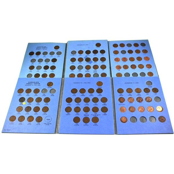 1920-1980 Canada small cents in vintage Whiteman albums. You will receive 97  coins dated between 19