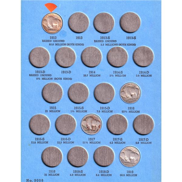 1913-1938 USA Buffalo Nickels in vintage Whitman album. You will receive 26 coins dated between 1913