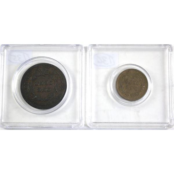 1843 Liberty Head & 1859 Indian Head USA 1-cents.  2pcs