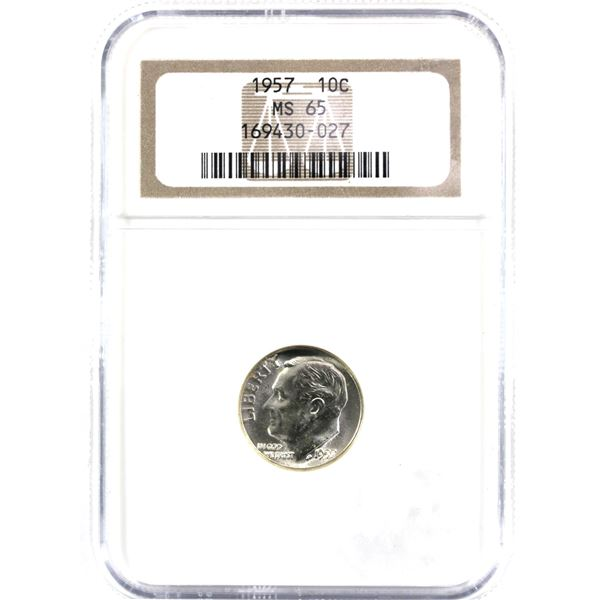 1957 USA 10-cent NGC Certified MS-65. holder is impaired.