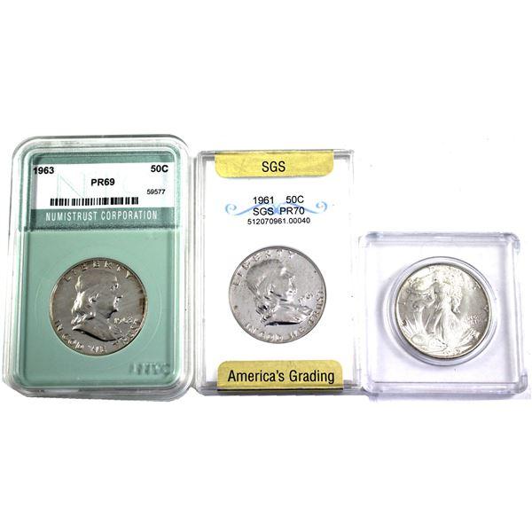 Lot of 3x USA Half Dollars: 1945, 1961 SGS Certified PR-70 & 1963 NTC Certified PR-69. 3pcs