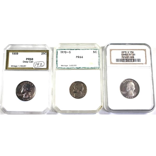 Lot of 3x USA coins: 1970S 5-cent PCR Certified PR-66, 1959 25-cent PCI Certified PR-68 Deep Cameo &