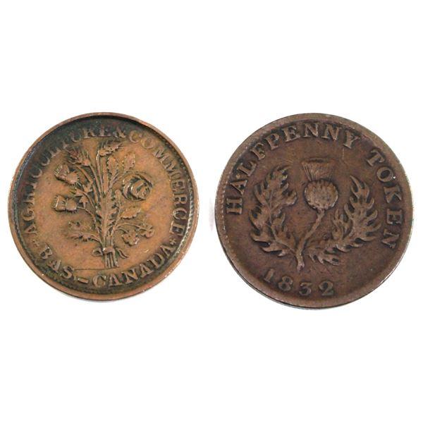 Pair of tokens: Bas- Canada (Montreal) Flowers token & 1832 Nova Scotia 1/2 penny. 2pcs