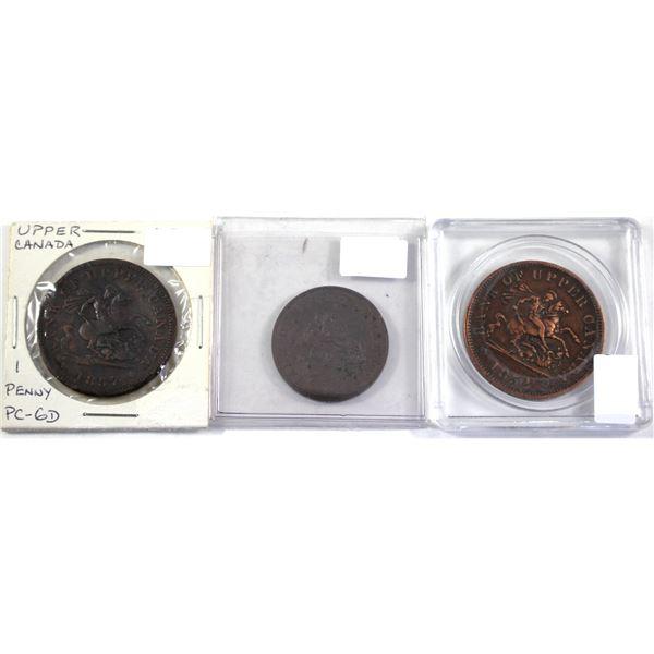 1852 & 1857 Bank of Upper Canada Half & One Penny tokens. 3pcs