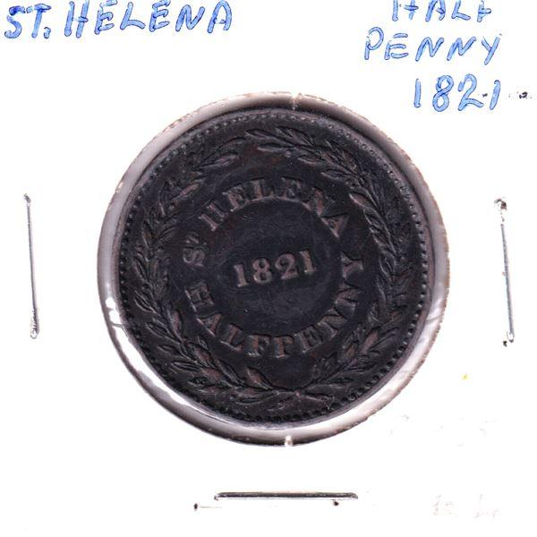 1821 ST. Helen half penny token