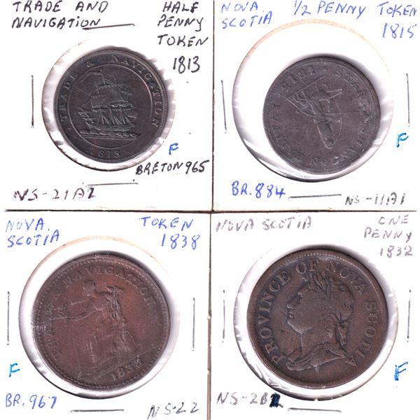 Group lot of 4x Canadian tokens. Lot includes: 1813 Trades and Navigation Half Penny token NS-21A2,