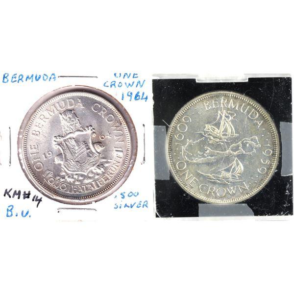 1959 & 1964 Bermuda 1 Crown silver coins (.925 & .500 Silver). 2pcs