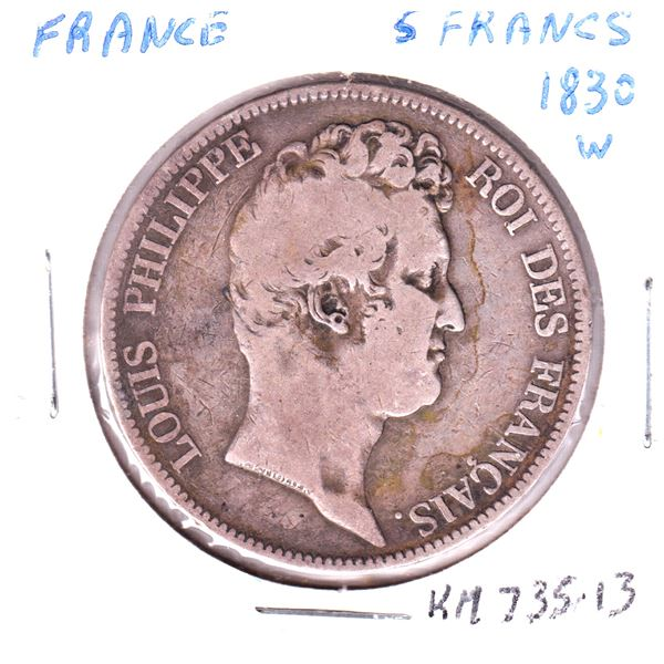 1830W France 5 francs .900 Silver coin