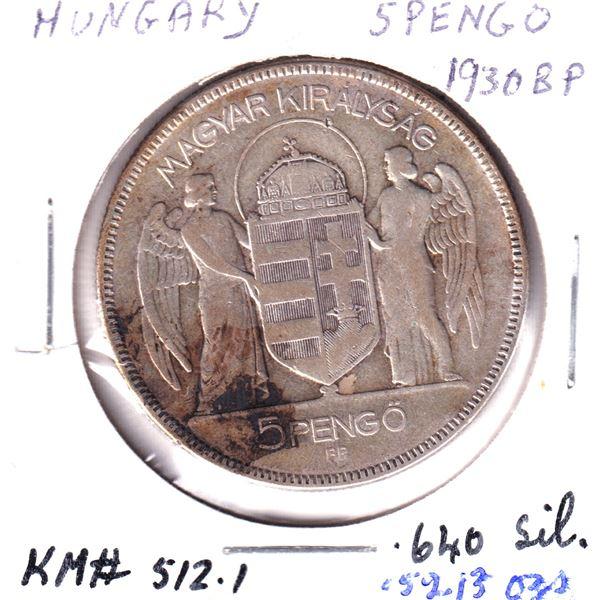 1930BP Hungary 5 Pengo .640 Silver coin