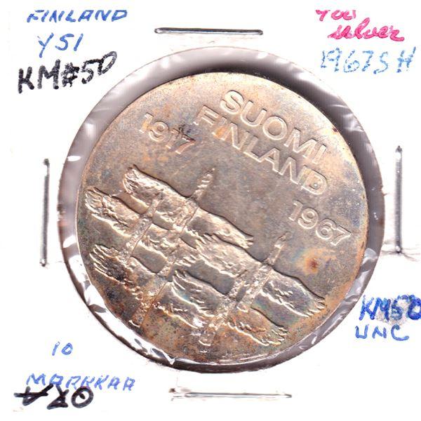 1967SH Finland 10 Markkaa .900 Silver coin