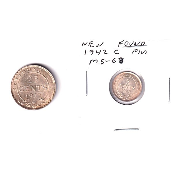 1917 Newfoundland 25-cent & 1942C Newfoundland 5-cents. Coins appear to be in EF to UNC condition. 2