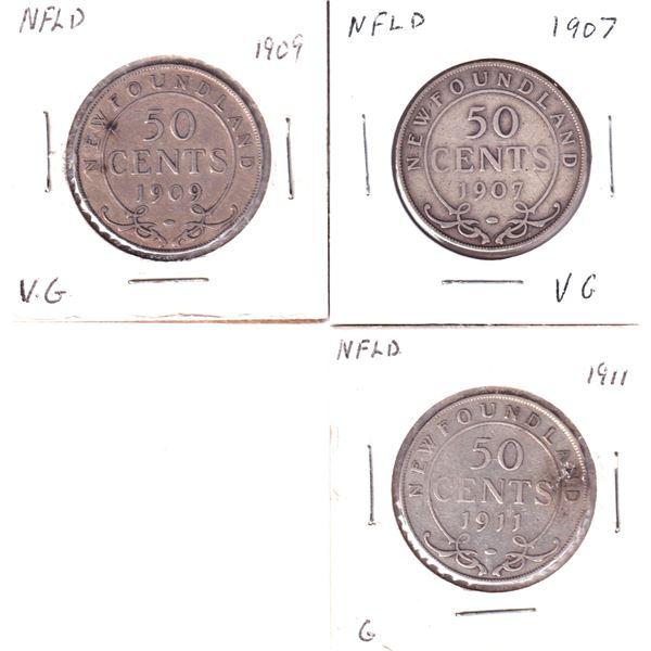 1907,1909 & 1911 Newfoundland 50-cents. 3pcs