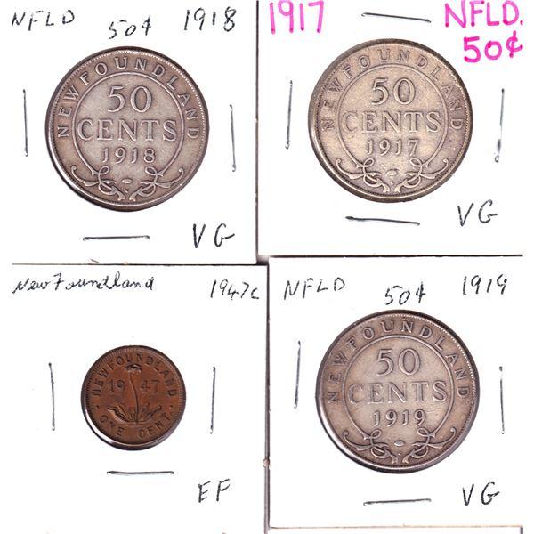 1917-1947 Newfoundland 1-cent/50-cents: 1917 50-cent, 1918 50-cent, 1919 50-cent & 1947 1-cent. 4pcs