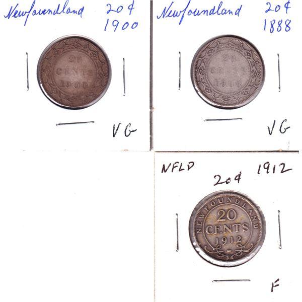 1888,1900 & 1912 Newfoundland 20-cents. 3pcs