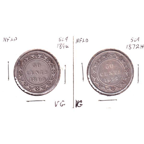 1872 & 1894 Newfoundland 50-cents. 2pcs