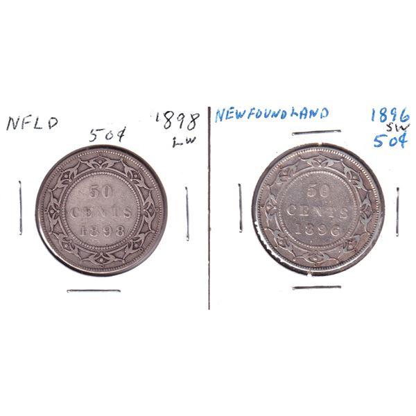 1896 SW & 1898 LW Newfoundland 50-cents. 2pcs