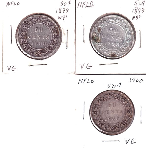 1899 N9's, 1899 W9's & 1900 Newfoundland 50-cents. 2pcs