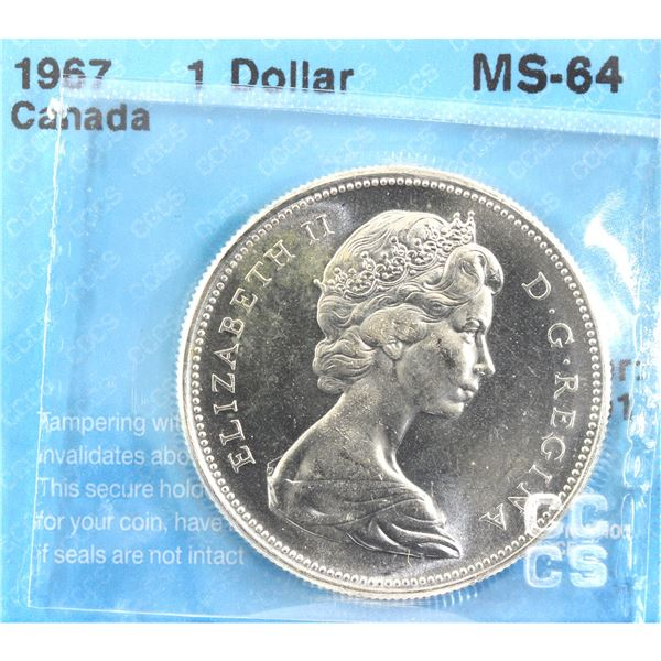 1967 Canada Silver Dollar CCCS Certified MS-64