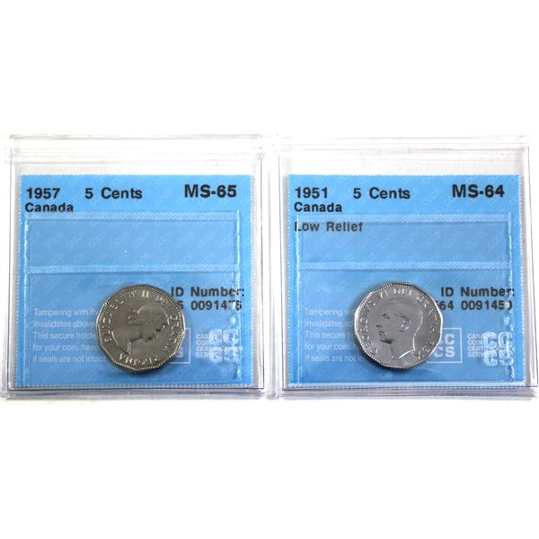 1951 Low relief & 1957 Canada 5-cent CCCS Certified MS-64/MS-64. 2pcs