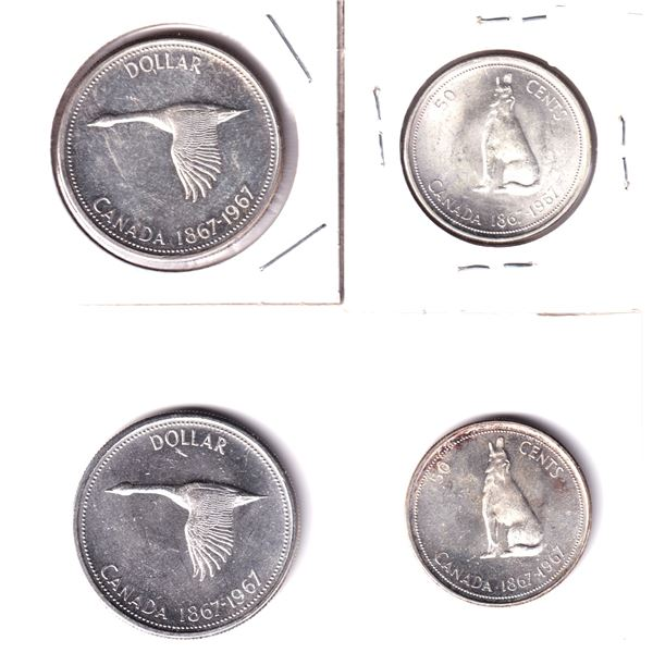 1967 - 2x Canada Silver Dollars & 2x 50-cent. 4pcs