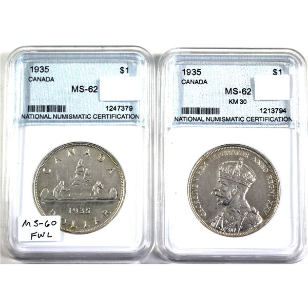 Pair of 1935 Canada Silver Dollar NNC Certified MS-62. 2pcs