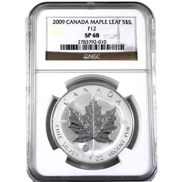 2009 $5 F-12 1oz Privy Silver Maple Leaf NGC Certified SP68! (Tax exempt)