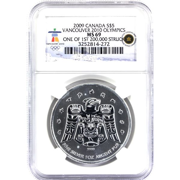 2009 Canada $5 1oz Vancouver Olympic Silver Maple Leaf NGC Certified MS-69! (Tax exempt) One of the