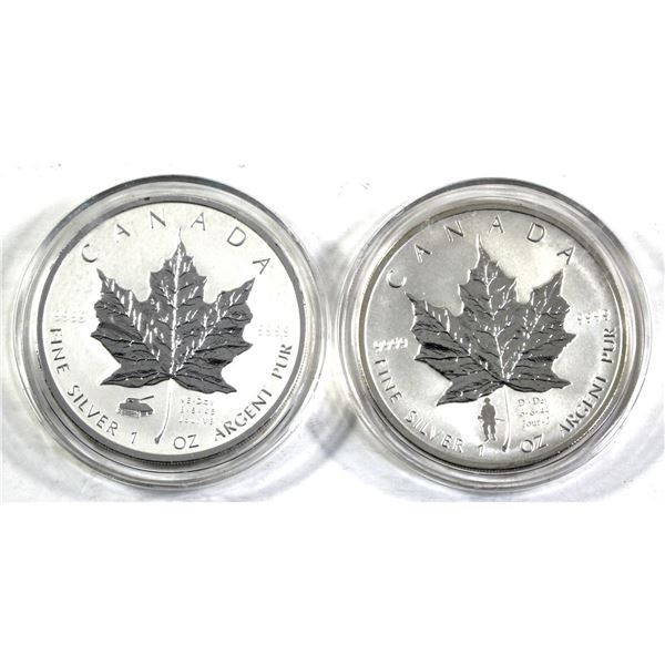 2004 D-Day & 2005 VE-Day 1oz .9999 Fine Silver $5 Commemorative Maple Leaf Coins (Tax Exempt) 2pcs