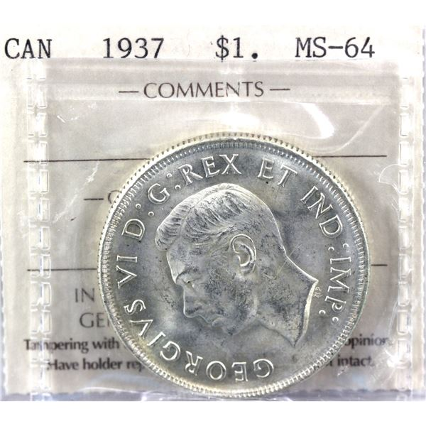 1937 Canada Silver Dollar ICCS certified MS-64
