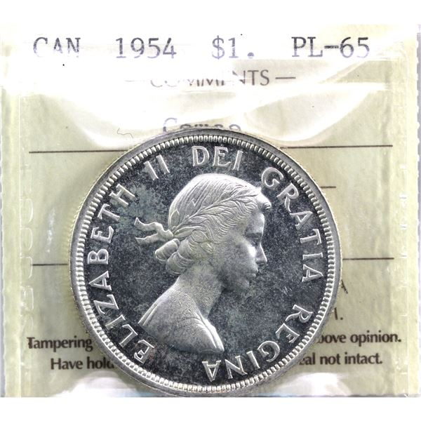 Silver $1 1954 ICCS Certified PL-65 Cameo!