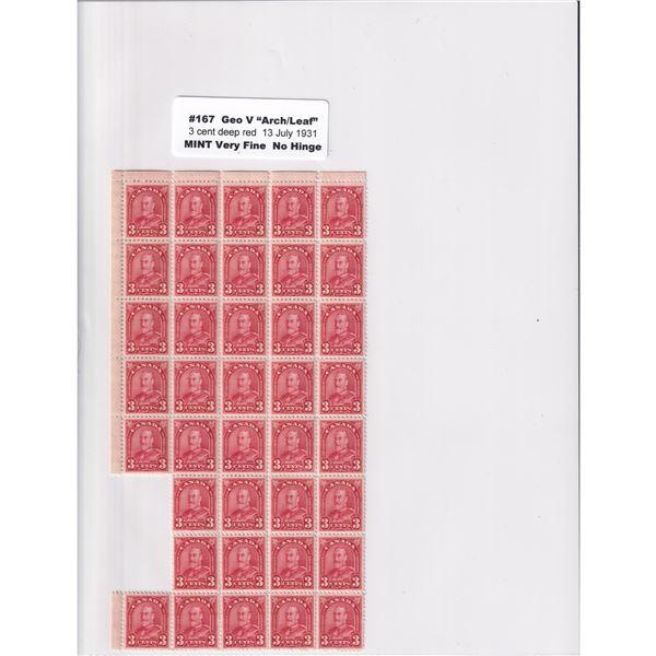 #167 1931 George V Arch/Leaf 3-cent deep red Mint No Hinge stamp VF.