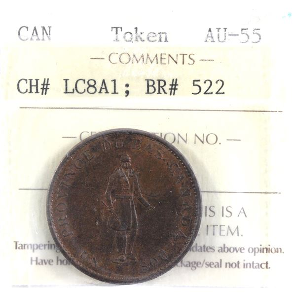 1837 Lower Canada Token CH# LC8A1 BR# 522 ICCS Certified AU-55.